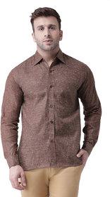 Khadio Men's Brown Linen Full Shirt