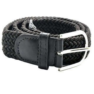Sunshopping mens Black Casual Elastic Starcheble Stylish Belt (Synthetic leather/Rexine)