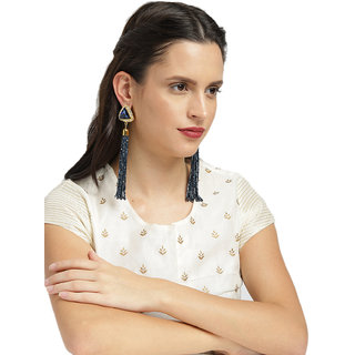 Zaveri Pearls Crystal Shine Stones & Beads Contemporary Tassel Earring-ZPFK8554