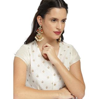Zaveri Pearls Traditional Kundan & Pearls Dangle Earring-ZPFK8612