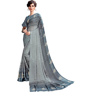Swaron Grey Satin Printed Saree with unstitched Blouse