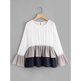 Rimsha women's wear white and grey layered top