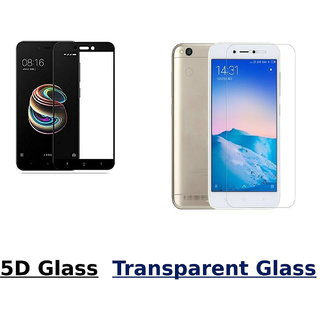 Redmi 5A 5D Black Tempered Glass With Transparent Glass Combo Deal Standard Quality