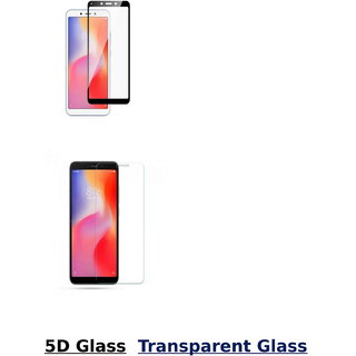 Redmi 6A 5D Black Tempered Glass With Transparent Glass Combo Deal Standard Quality