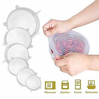 Set Of 6 Stretchable Food Fresh Saver Covers for Bowls, Cups, Pots, Stretch Lid