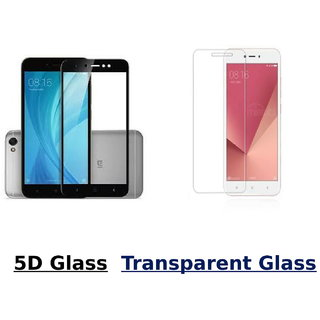 Redmi Y1 Lite 5D Black Tempered Glass With Transparent Glass Combo Deal Standard Quality