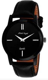 Mark Regal Round Dial Black Leather Strap Quartz Watch For Men