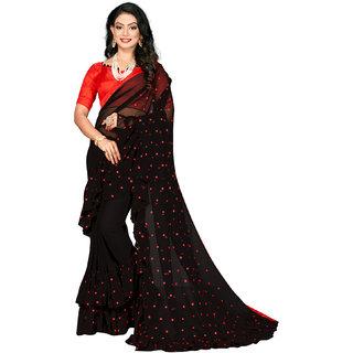 Granthva Fab Designer Black Georgette Ruffle Saree With Blouse Piece