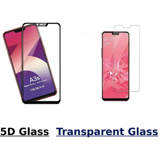 Oppo A3s 5D Black Tempered Glass With Transparent Glass Combo Deal Standard Quality