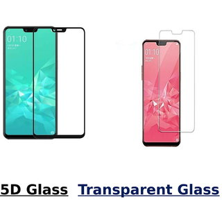 Oppo A5 5D Black Tempered Glass With Transparent Glass Combo Deal Standard Quality