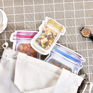 House of Quirk Zipper Reusable Food Storage Snack Sandwich Bags-Mason Jar Shape for AirTight Seal Bag Travel Picnic Camp