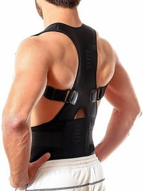 Snowpeal Real Doctors Plus Posture Support Brace Belt Back Brace Support Belt  Back Support (Free Size, Black)