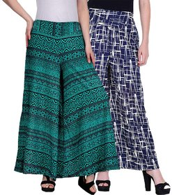 Omikka Crepe Printed Palazzo for Women Pack of 2