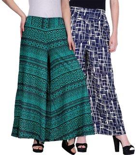 Pack of 2 LILI CREATION Multicolor Crepe Printed Palazzo for Women