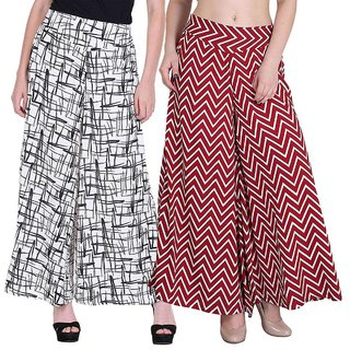 Lili Crepe Printed Palazzo for Women Pack of 2