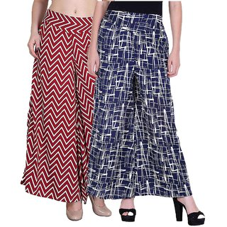 Omikka Crepe Printed Palazzo for Women Pack of 2