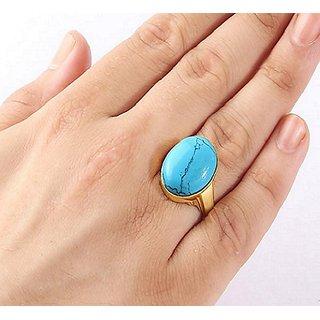 Natural Turquoise Panchdhatu Ring firoza stone 8.25 ratti Jaipur Gemstone