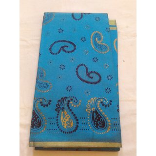 Blue Bhagalpuri Poly Cotton Saree Grand Cotton Print Work W/B New Saree