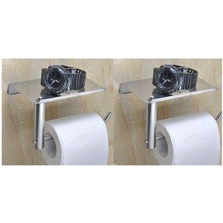 Kurvz stainless L-Shape steel chrome polish toilet paper holder (PACK OF 2)