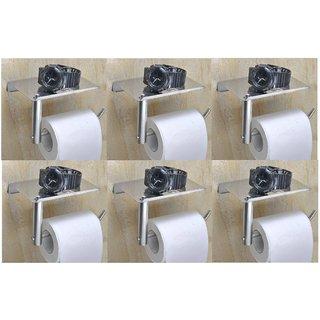 Prestige stainless L-Shape steel chrome polish toilet paper holder (PACK OF 6)