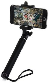 Deepcellmart Universal Selfie Stick Portable Black- Compatible for all Android and I Phones(Selfie Stick with Wire/Aux Cable )