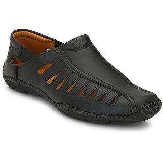 Server Men's Black Synthetic Leather Casual Slip On Sandal