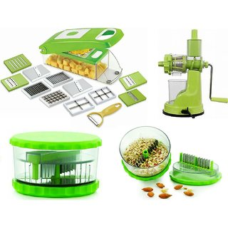 3 piece combo of fruit juicer with 12 in 1 chipser/grater/slicer and 1 piece garlic crusher