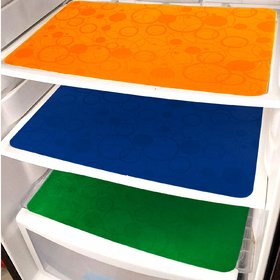 Pack of 3 Khushi Creation Plain Plastic Washable Fridge Mats (Color May Vary)