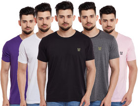 Vimal Jonney Multicolor Cotton Tshirts For Men(Pack Of 5)