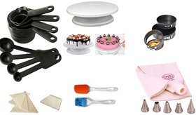 Combination of Turn Table,Spring Form,Decorating Comb,Icing Bag,Nozzles,Scrapper,Measuring Cup  Spoons,Spatulla  Brush