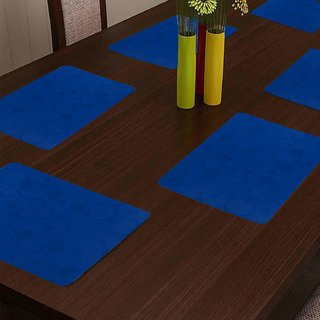 KHUSHI CREATION Designer Fridge Drawer Mats Dinning Table Mat Kitchen Mat (Blue Set of 6)