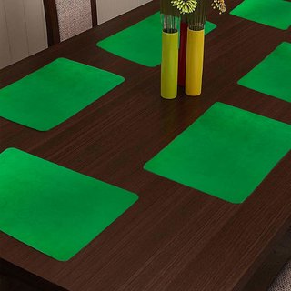 KHUSHI CREATION Designer Fridge Drawer Mats Dinning Table Mat Kitchen Mat (Green Set of 6)