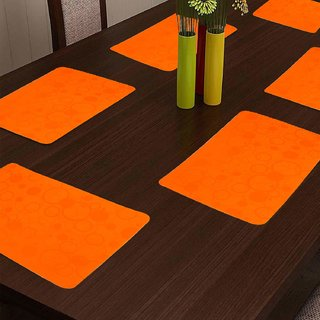 KHUSHI CREATION Designer Fridge Drawer Mats Dinning Table Mat Kitchen Mat (Orange Set of 6)