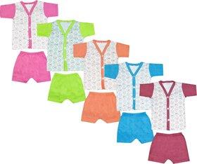 Jisha Cotton Multicolour Boys Tshirt and Shorts 212 Pack of 5