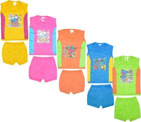 Jisha Cotton Unisex Multicolour Tshirt and Shorts 555 Set of 5