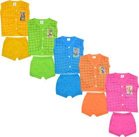 Jisha Cotton Multicolour Unisex Tshirt and Shorts A14 Pack of 5
