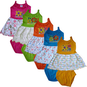 Pack of 5 Multicolor Cotton Girls Sleevless Frock by Jisha