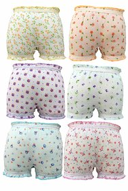 KIDBIRD Girls Boys and Kids Cotton Printed 100 Cotton Briefs Inner Underwear Panty Bloomers Combo Pack of 6