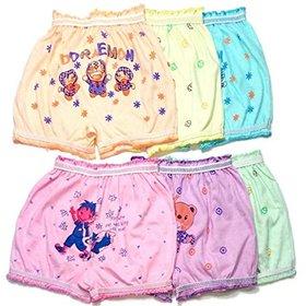 KIDBIRD Girls Boys and Kids Cartoon Cotton Printed 100 Cotton Briefs Inner Underwear Panty Bloomers Combo Pack of 6