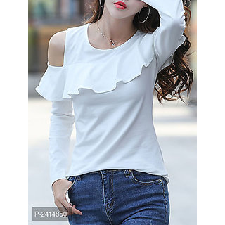 ccfbd197d1523 Buy Raabta White One Cold shoulder Western Top Online - Get 67% Off
