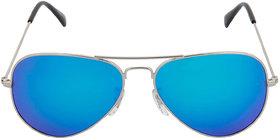 David Martin Silver  Blue Mirrored/Mercury (UV Protected) Unisex Aviator Sunglasses (Medium Size).