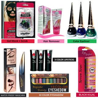 11Pcs of Makeup Combo  Color Eyeliner, Mascara, Kajal, Eye Shadow, Lipstick, Hair Remover, Gel Mask+Scrub