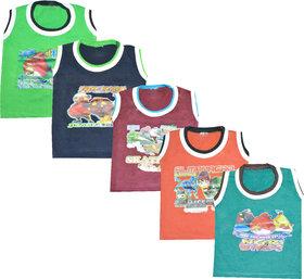 Jisha Multicolor Sleevless Tshirt (SMNS) Set of 5
