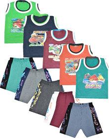 Jisha Sleevless Tshirt and Bermuda (MultiColor, Set of 5)