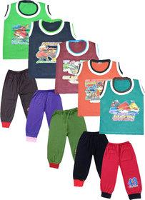 Jisha Sleevless Tshirt and Plain Capri SLVMNSPLN (MultiColor, Set of 5)
