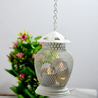 Decorative Lamp shape White Candle Light Holder With Chain Home Decor Tea-light Candle Holder Wall Hanging