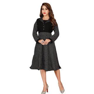 Bane Lifestyle India Womens Black Printed Shirt Collar Georgette Midi Dress
