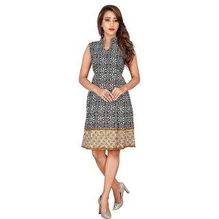Bane Lifestyle India Womens Multicolor Printed Shirt Collar Crepe Midi Dress