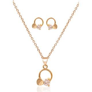 Varni Retail Roase Gold Round hartPandentEaring