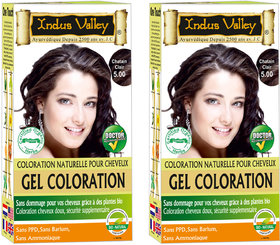 Indus Valley Organically Natural Gel Light Brown 5.00 Hair Colour One Touch Pack Of 2 Each Pack 35 G